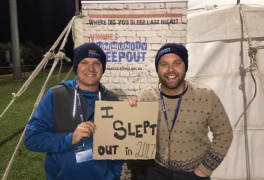Geoff and James at Vinnies Community Sleepout