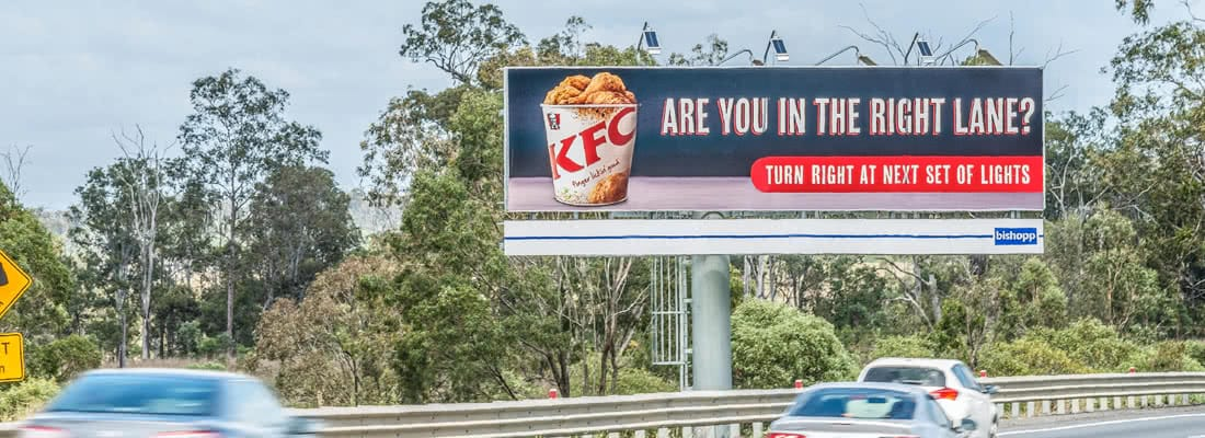 OOH drives online spend purchases, Bishopp Outdoor Advertising, KFC Billboard