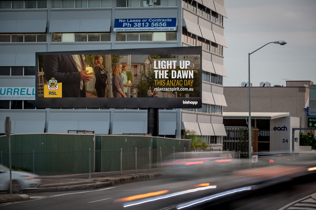 ANZAC initiative 'Light up the dawn', Bishopp Outdoor Advertising, Ipswich Billboards, ANZAC Day 2020, Covid-19 Anzac Day